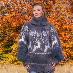 SUPERTANYA GREY WHITE Hand Knitted Mohair Sweater Icelandic Fuzzy Nordic Jumper #SuperTanya #TurtleneckMock
