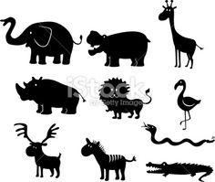 african cartoon animals set Royalty Free Stock Vector Art Illustration
