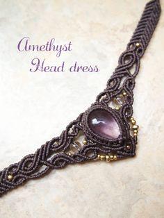 ラブラドライト&アメジストヘッドドレス|天然石×マクラメアクセサリーSTONES SPIRIT