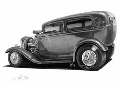 32 Tudor Hotrod drawing by WhizzieWhizzer