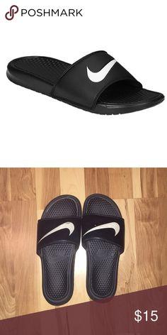 c36c9b9c904 Nike Slides Black and White Nike slide in sandals Nike Shoes Sandals