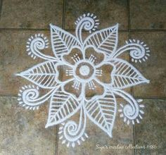 Rangoli Kolam Designs, Rangoli Patterns, Rangoli Ideas, Diwali Rangoli, Indian Rangoli, Easy Rangoli, Small Rangoli, Rangoli With Dots, Free Hand Rangoli