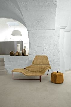 Stool with hollow and cloth/lthr pull-Mill Renovation in Palomba, Italy, Remodelista