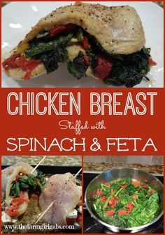 Chicken breast stuffed with fresh spinach, feta cheese and roasted red peppers. This recipes is delicious!