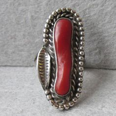 Vintage Native American Navajo Rope & Feather BIG Dark Red Coral Sterling Silver Ring, Size 6.75