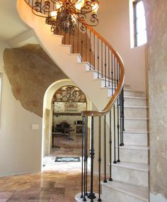 Marble Free Standing Staircase with Red Oak and Iron Rail