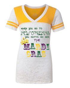 New Orleans MARDI GRAS Shirt, Junior Fit Burnout  So Cute!