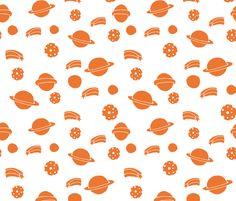 Planets - Tangelo Orange by Andrea Lauren fabric by andrea_lauren on Spoonflower - custom fabric