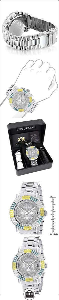 Large Mens Multicolor White Yellow Blue Diamond Watch 4.3ct LUXURMAN Escalade  ✿ Relojes para hombre - (Lujo) ✿