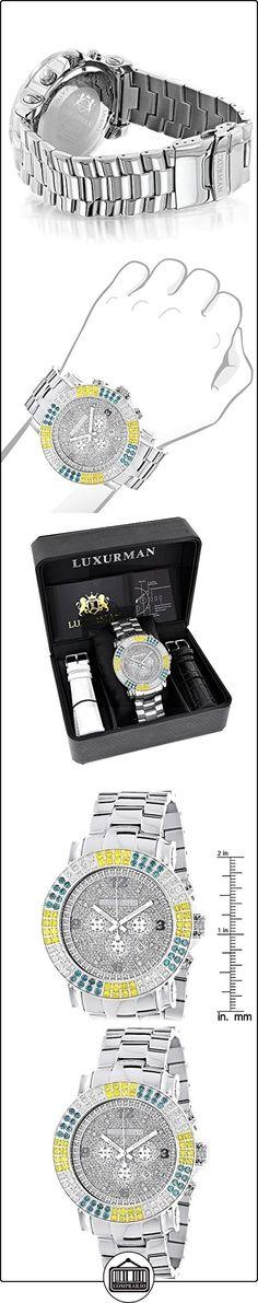 Large Mens Multicolor White Yellow Blue Diamond Watch 4.3ct LUXURMAN Escalade  ✿ Relojes para hombre - (Lujo) ✿