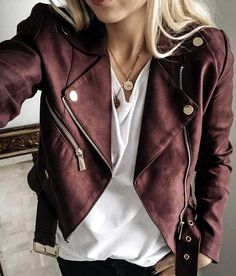 burgundy leather jacket. Maroon Jacket, Red Suede Jacket, Leather Jacket Outfit Spring, Colorful Leather Jacket, Coloured Leather Jacket, Vegan Leather Jacket, Summer Jacket, Faux Leather Jackets, Soft Leather