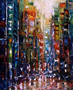 New York Cityscape art Abstract city painting by Debra Hurd