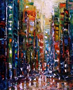 New York Cityscape art Abstract city painting by Debra Hurd
