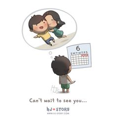 Hj-Story :: love is can't wait to see you - image 1 Hj Story, Cute Love Stories, Love Story, Distance Love, Long Distance, Cute Love Cartoons, Love Of My Life, My Love, Cant Wait To See You