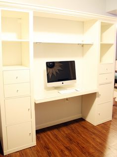Great desk idea, even for apartments! Two 1x5 expedit bookcases and one floating shelf from Ikea, one desktop (this one salvaged from an old bi-fold door), scrap wood to join the top, paint and trim. Shazam! You affix the expedit cases to the wall, float the desktop between them as shown in an earlier post, hang the floating shelf, and screw the scrap wood with the crown molding down into the expedit cases in a couple places. Everything can be easily taken down and moved, and you only have a...