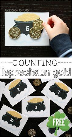 Counting Leprechaun Gold. FREE printable! Great preschool busy bag or math center. {Playdough to Plato}