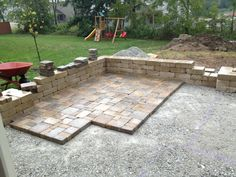 Diy paver patio ideas backyard patio outdoor oasis tutorial the home decor stores near me cheap Patio Steps, Diy Patio, Backyard Patio, Backyard Ideas, Patio Wall, Backyard Landscaping, Concrete Paver Patio, Brick Patios, Concrete Slab