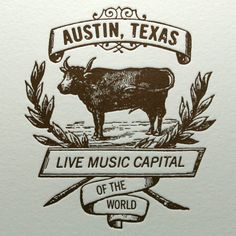 Austin Live Music Cow Card in Brown by letterpress