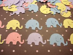 100 ELEPHANTS for Baby Shower Card Making Scrapbooking Embellishments Punchies Punches Confetti. $3.50, via Etsy.