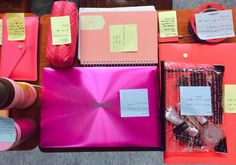 Special Collections(Pink color) 1. Laptop -To find the information. -It's my first laptop. 2. Pouches -To put on make-up. -It makes me feel more beautiful. 3. File 4. Tape 5. Transportation card 6. Note 7. Pencil case 8. Bottles