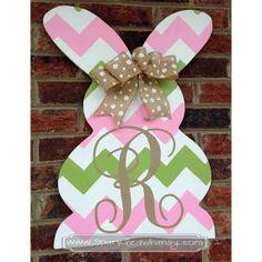 Monogrammed Chevron Easter Bunny Door Hanger by SparkledWhimsy, $42.00