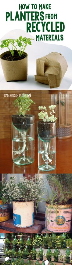 DIY recycled planters