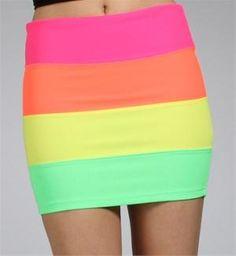 Neon Rainbow Colorblock Banded Mini Skirt - new pride outfit??!! @Kyle Jackson @Ryan W Vaughan