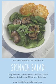 Add this spinach salad recipe with few ingredients and a truffle oil vinaigrette to your meal plan. Truffle Popcorn, Parmesan Chips, Spinach Salad Recipes, Recipes With Few Ingredients, Truffle Oil, Oil Recipe, Best Steak, Food Challenge, Recipe Today