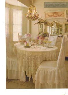 I love, love, love ruffles and anything with lace. Anyone interested in the beautiful ruffled chair covers below they are avaialbe at my swe...
