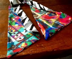 """Focus on This"" wing-scarf with abstract poly silk 66"" long"