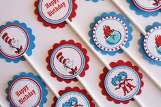 Set of 12 Personalized Cat in the Hat Birthday by WittyWiseOwl, $6.75
