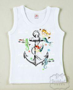 Anchor Girl Shirt - Mermaid Girl Shirt - Pool Party Tank - Infant Mermaid Tee - Tshirt Vintage Toddler Beach - Tween Retro Personalized