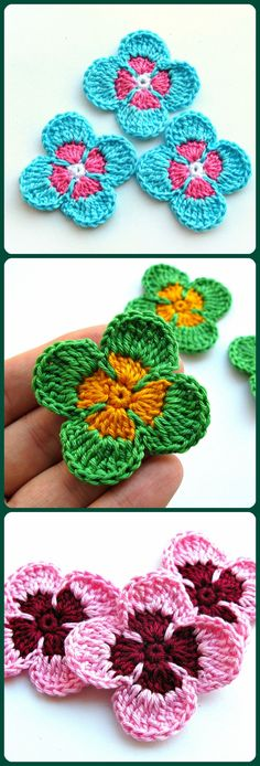 Small crochet flower appliques for decorations and craft Flower embellishment Greeting card making decor They are so lovely when decorating your craft cotton clothes cotton hat clips bows accessories etc. Add to scrapbook pages greeting cards Crochet Flower Hat, Crochet Flower Patterns, Flower Hats, Flower Applique, Crochet Motif, Crochet Doilies, Crochet Lace, Flower Clips, Crochet Appliques