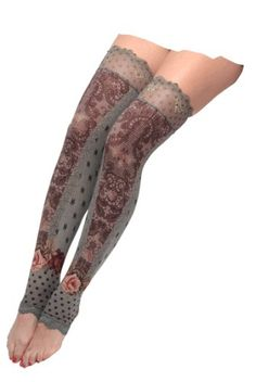 Vintage Style Superb Thigh-Highs by Michal Negrin with Stars, Polka Dot and Victorian Roses Print, Decorated with Lace Trim Edge and Embroidery Like Pattern - Size S Michal Negrin,http://www.amazon.com/dp/B008OJUQRQ/ref=cm_sw_r_pi_dp_wznhsb1C8HYGEG78