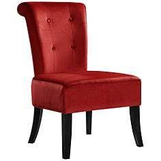 Collinsport Carolina Crimson Red Velvet Dining Chair