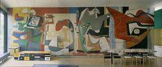 """The Swiss Pavilion in the international campus (Pavillon Suisse, Cité Internationale Universitaire), Paris.  1930-1932.  Painting """"Painting silence.""""  1948"""