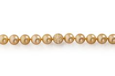 Stunning Pearl Necklace by Terry Snider Jewelry featuring Golden Keshi Pearls and Diamond Pave Ball