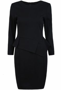 Black Long Sleeve Ruffle Bodycon Dress