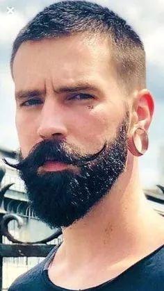 The Manly Beard plus Handlebar Beard And Mustache Styles, Beard Styles For Men, Beard No Mustache, Hair And Beard Styles, Classic Mens Hairstyles, Boy Hairstyles, Handlebar Mustache, Beard Haircut, Bald Hair