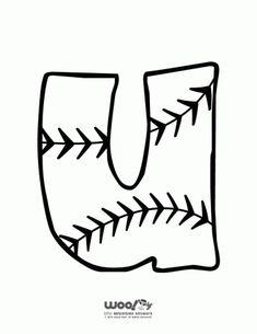 Printable Baseball Alphabet Letters Baseball Alphabet Letter U – Craft Jr. Baseball Bulletin Boards, Baseball Letters, Bulletin Board Letters, School Bulletin Boards, School Themes, Classroom Themes, School Ideas, Alphabet Letters To Print, Alphabet Fonts