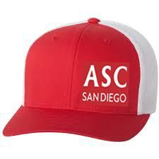 detailed look 17f30 73733 ASC SAN DIEGO - SNAP BACK EMBROIDERED TRUCKER - RED WHITE