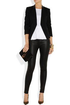 Theory|Lanai leather-trimmed stretch-ponte blazer|NET-A-PORTER.COM