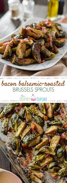 Drizzled with tangy balsamic, tossed with savory bacon, slightly sweetened with brown sugar: these simple, crispy Bacon Balsamic-Roasted Brussels Sprouts are the perfect side dish for any meal! Roasted Sprouts, Sprouts With Bacon, Balsamic Brussel Sprouts Bacon, Brussel Spouts With Bacon, Roasted Balsamic Vegetables, Brussel Sprouts Slow Cooker, Roasted Brussels Sprouts, Bacon Recipes, Cooking Recipes