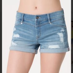 """Bebe Boyfriend Denim Shorts Size 26 These are an adorable pair of boyfriend shorts from Bebe in a size 26.  With love worn distressing, cuffed hemline and comfy denim fabric this pair of bebe boyfriend shorts is a summer essential. Try yours with a breezy tunic and a pair of sku-high wedge sandals and you will look fabulous.  Made of 74% cotton, 16% polyester, 8% rayon, 2% spandex, they have an 8"""" rise, a 3"""" inseam & a 23"""" leg opening.  Worn only once they are in excellent condition! bebe…"""