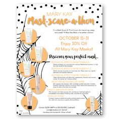 Hold a fun and scary Mask-Scare-A-Thon with this spooky customizable flier featuring the great Mary Kay masks! Find it only at www.thepinkbubble.co!!