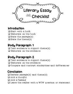 Literary Essay Th Grade Teachers College  Th Grade  Literary  Literary Essay Writing Checklist That Works Well With Lucy Calkins Writing  Units Of Study