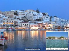 Beaches and Resorts : Naxos Town (Hora) in Naxos Island Greece Cyclades Islands Dream Vacation Spots, Dream Vacations, Places To Travel, Places To Go, Naxos Greece, Greece Honeymoon, Greece Holiday, Vacation Memories, Honeymoon Destinations