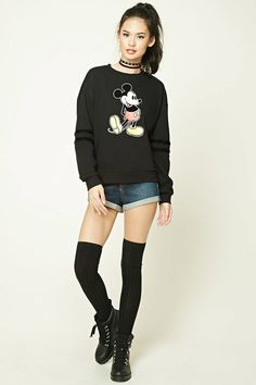 Make a big, bold statement in this chunky jumper. Featuring an oversized floral design, this jumper can be layered over a fine knit polo neck for those extra cold days. Mickey Mouse Sweatshirt, Classic Mickey Mouse, Tank Shirt, Jeans Brands, True Religion, Shop Forever, True Love, Casual, Knitwear