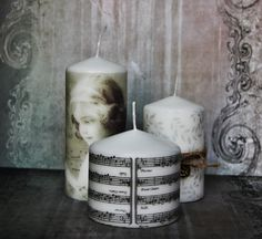 3 Beautiful Decoupage Vintage SHABBY CHIC handmade Pillar Candles