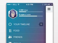 Dribbble - Side menu and status bar in iOS7 by Tina Tavčar